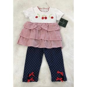 Laura Ashley Baby Girls Cherry and Polka Dot Set